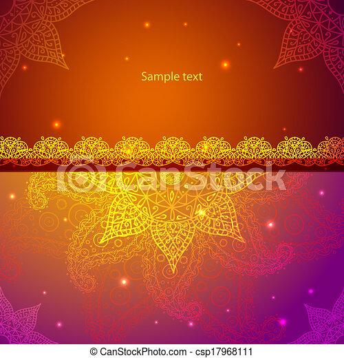 Gold Indian Vintage Ornament. Vector illustration for your business presentation - csp17968111