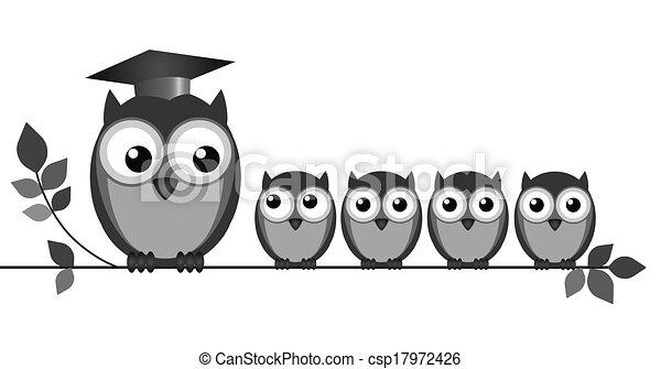 cute school owls clip art