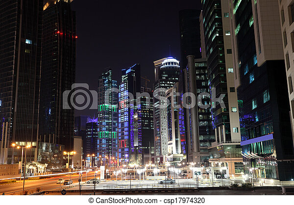Street downtown in Doha at night. Qatar, Middle East - csp17974320