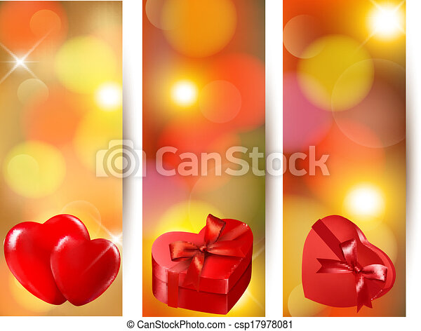 Set of beautiful valentine gift cards with red gift bows with ribbons. - csp17978081