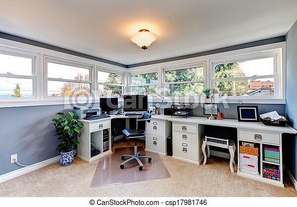 White and blue bright office room - csp17981746