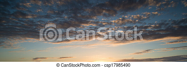 Beautiful panorama sunrise blue sky - csp17985490
