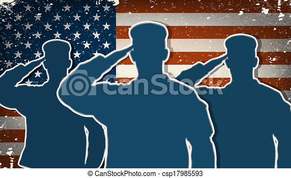 US Army soldiers saluting on flag - csp17985593