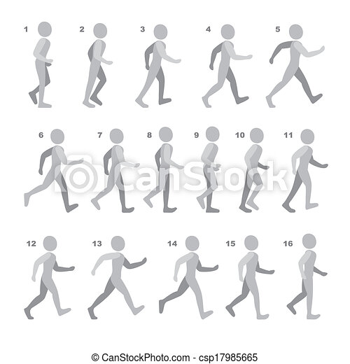 Phases of Step Movements Man in Walking Sequence for Game Animation on white - csp17985665