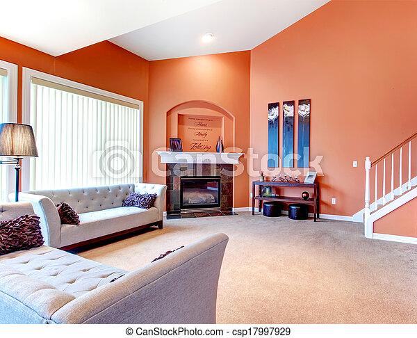 stock foto von orange cozy lebensunterhalt zimmer teppich boden csp17997929 suchen. Black Bedroom Furniture Sets. Home Design Ideas