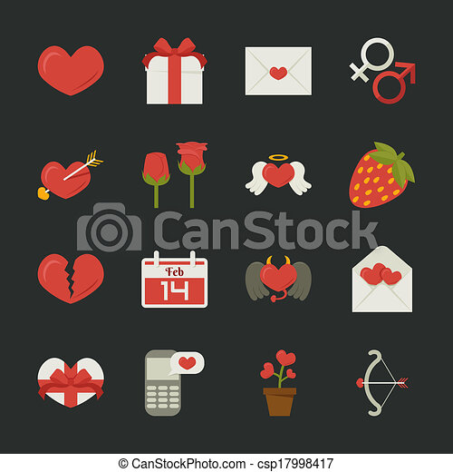 Valentine's day icons, love symbols  , flat design - csp17998417