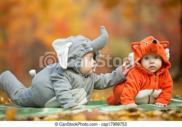 Two baby boys dressed in animal costumes in park - csp17999753