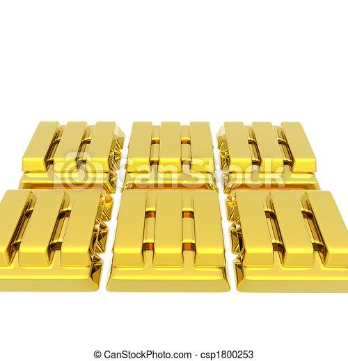 apilado, barras, oro, Oro y plata en metálico, blanco - csp1800253