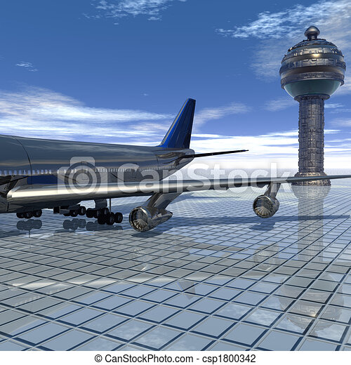 airliner with a blue sky - csp1800342