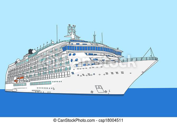 Vector Clip Art of cruise liner vector - white cruise ship on a ...