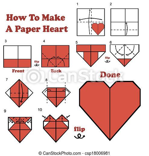 vecteur de coeur faire papier comment how to make a paper csp18006981 recherchez. Black Bedroom Furniture Sets. Home Design Ideas