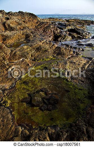 Stock beeld van spanje muskus rots steen water zomer in lanzarote csp18007561 zoek - Zomer keuken steen ...