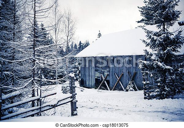 Im genes de de madera caba a en invierno bosque central finlandia csp18013075 buscar - Cabana invierno ...