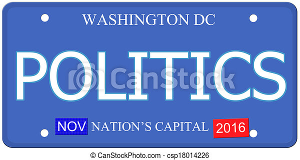 Politics Washington DC License Plate - csp18014226