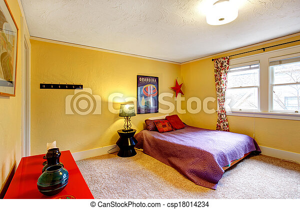 Bright  colors decorated young adult room - csp18014234