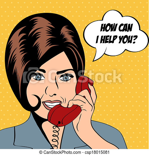 woman chatting on the phone, pop art illustration - csp18015081