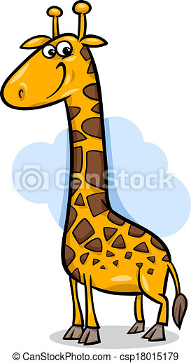 cute giraffe cartoon illustration - csp18015179