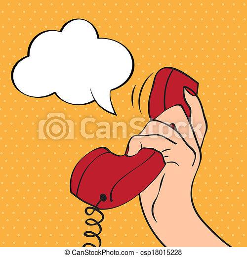 Hand holding a phone, pop art illustration - csp18015228