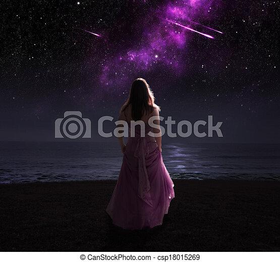 Woman and shooting stars. - csp18015269