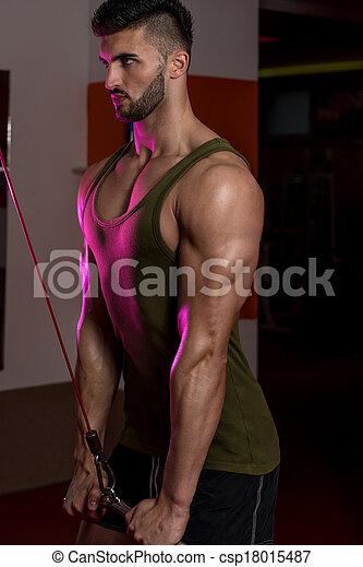 hombres, joven, ejercicio,  tríceps - csp18015487