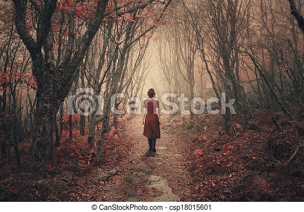Woman and foggy forest. - csp18015601