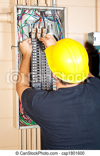 Electrician Replaces Breaker - csp1801600