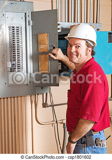 Industrial Electrician at Work - csp1801602