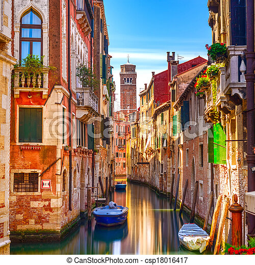 Venice cityscape, narrow water canal, campanile church on background and traditional buildings. Italy, Europe. - csp18016417