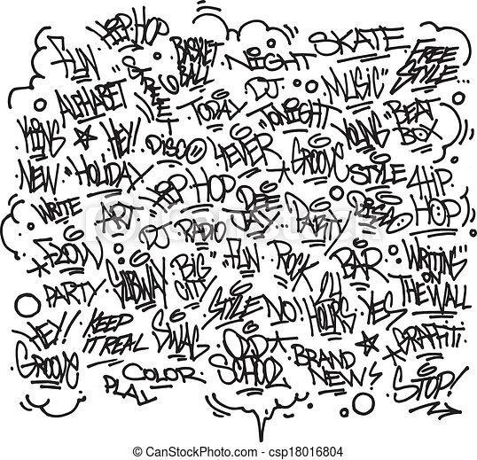Vector Clipart Of Urban Art Graffiti Tags Slogans