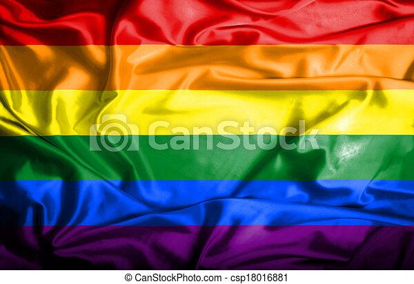 Gay (Pride) waving flag - csp18016881