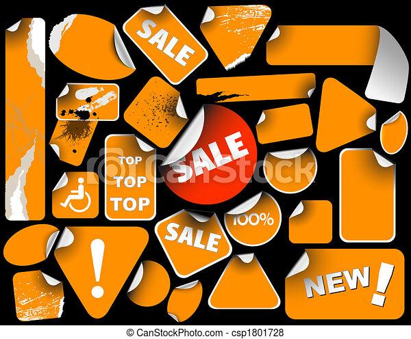 Set of orange sale labels - csp1801728