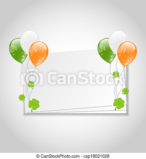 Illustration celebration card with balloons in Irish flag color for St. Patrick's Day - vector - csp18021028