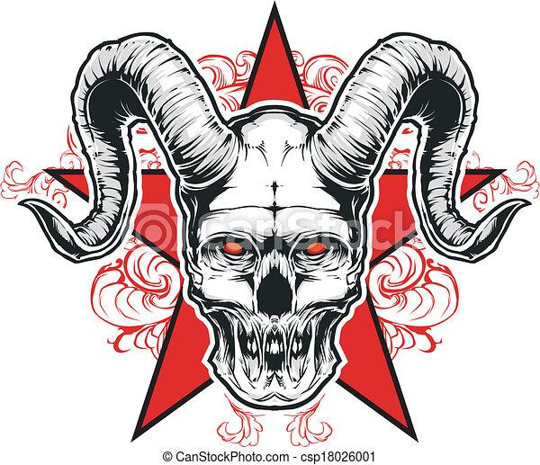 Clipart vecteur de d mon vecteur illustration d mon grand corne et csp18026001 - Dessin de demon ...