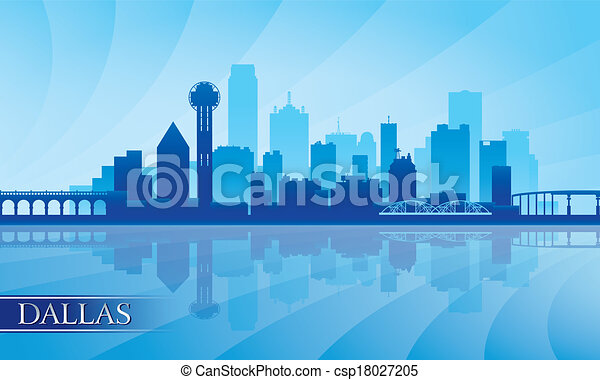 Dallas city skyline silhouette background - csp18027205