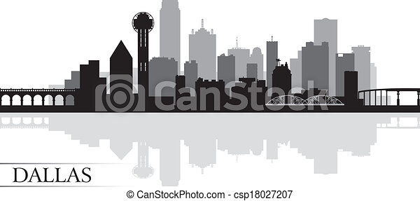 Dallas city skyline silhouette background - csp18027207