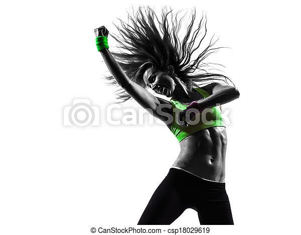 woman exercising fitness zumba dancing silhouette - csp18029619