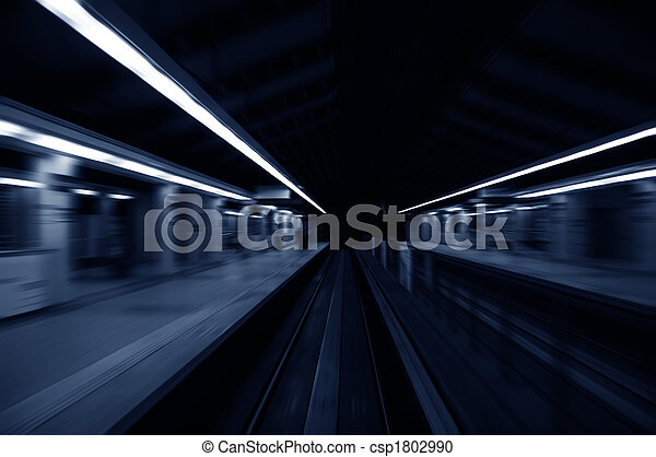 Speedy trains passing train station - csp1802990