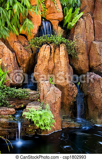 Japanese garden waterfalls - csp1802993