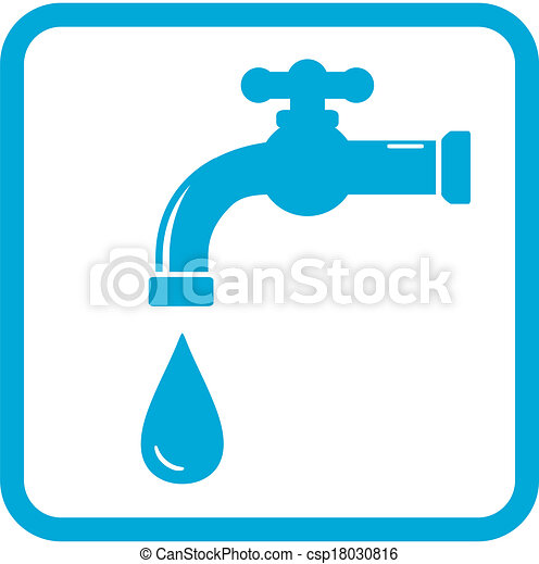 Vector Clip Art Of Icon With Tap Water Symbol Blue Icon