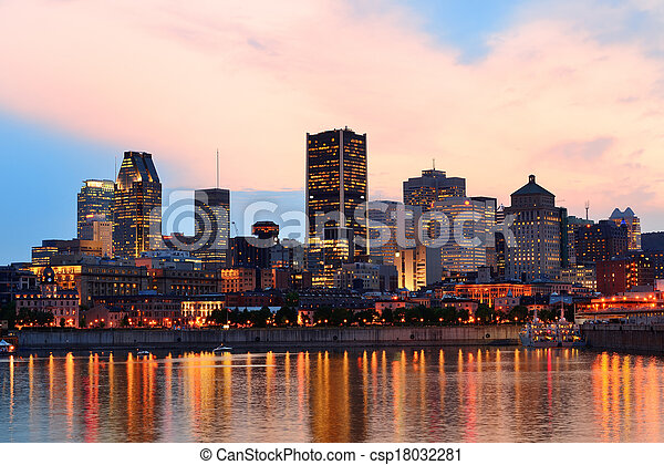 Montreal over river at sunset - csp18032281