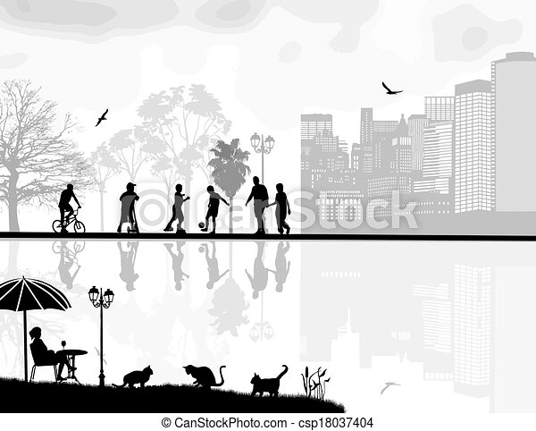Beautiful landscape and people silhouette - csp18037404