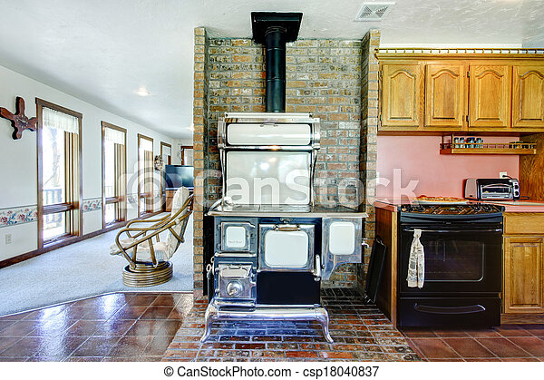 Stock Photos of Great design idea for farmhouse kitchen room Brick ...
