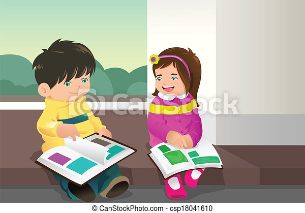 Kids Reading Vector Kids Reading a Book