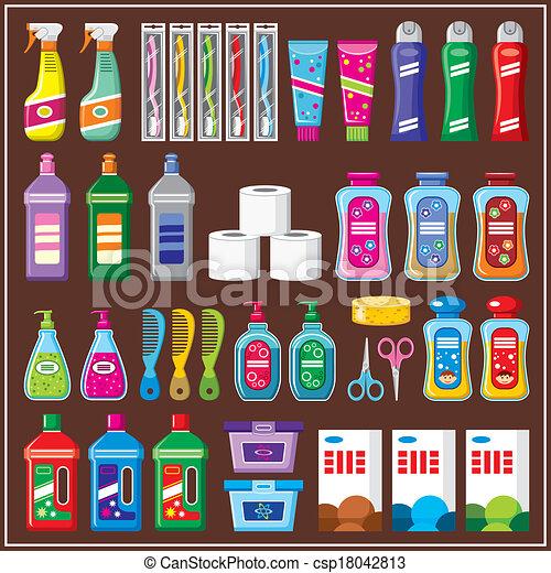 vektor clip art von haushalt satz chemikalien set von. Black Bedroom Furniture Sets. Home Design Ideas