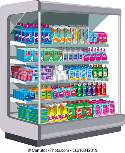 Shelfs with household chemicals.  - csp18042819