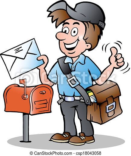 clipart vector of illustration of an happy postman hand mailbox clipart free Mailbox Clip Art Black and White