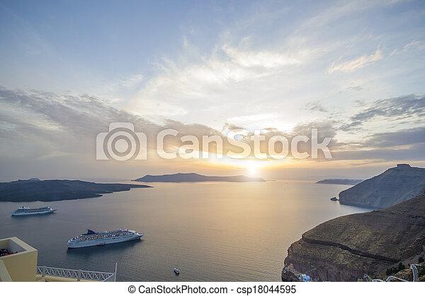 the Caldera at Fira Santorini Greece Europe at night