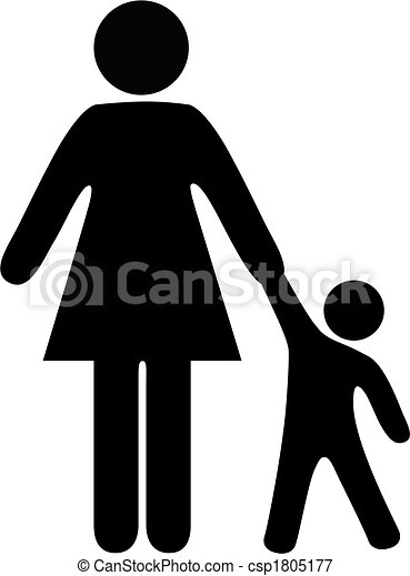 Symbol people mom and toddler hold hands - csp1805177