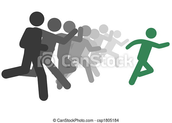 Symbol man and people run a race or leader leads - csp1805184