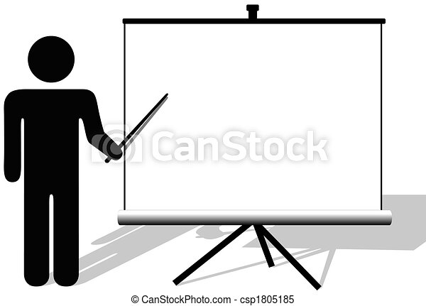 Symbol man points to copyspace on presentation on movie screen - csp1805185